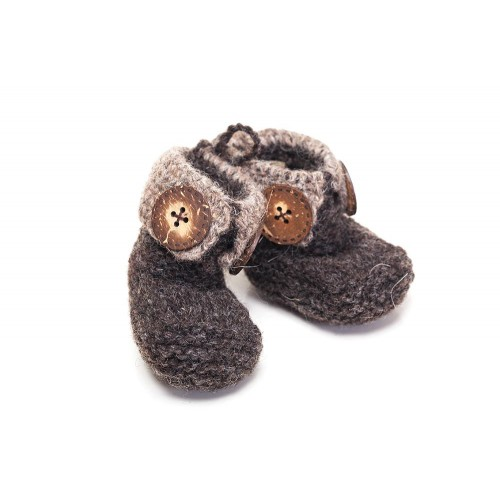 Knitted Baby Booties with Big Buttons