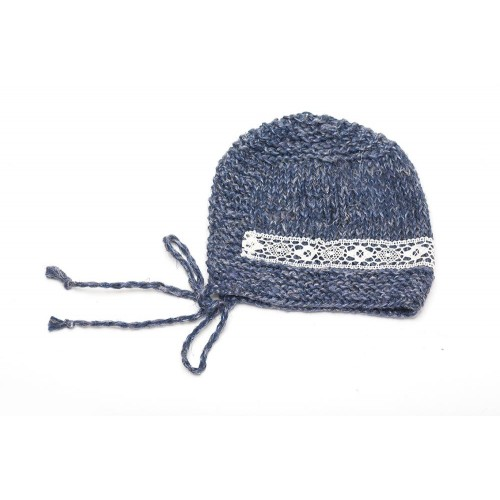 Knitted Baby Hat with Lace