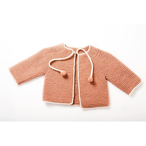 Fanny et Leon Coral Knitted  Jacket with Ties
