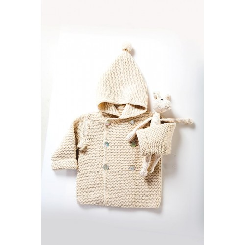 Fanny et Leon Baby White Knitted Hoodie